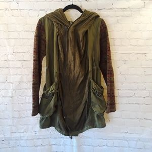 Free People oversized army green hooded jacket
